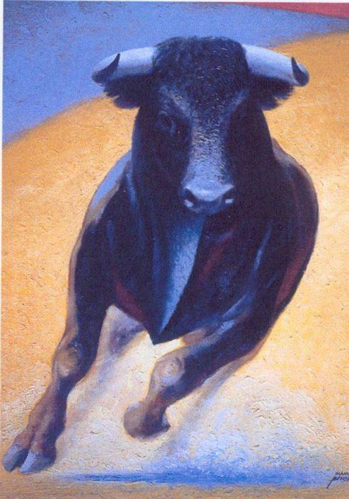 """Pintura """"Tauromaquia Salida de toro"""" Manolo Prieto"""