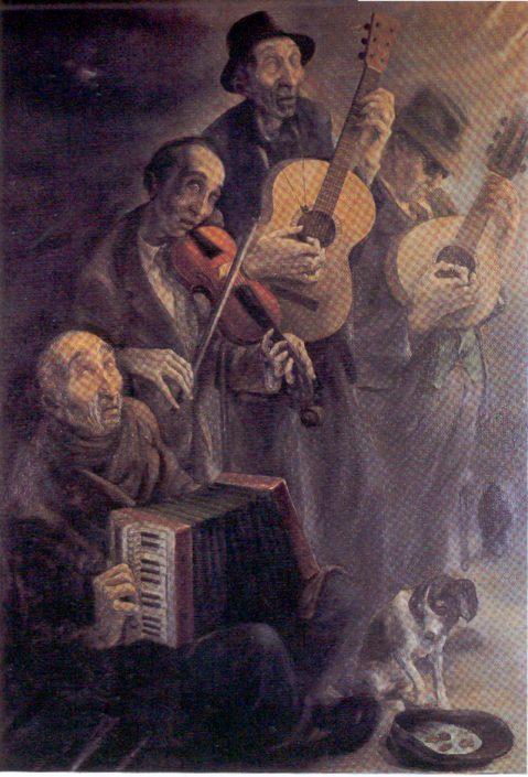 """Pintura """"Orquesta de ciegos"""" Manolo Prieto"""